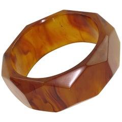 Faceted Bakelite Bracelet Bangle Root-beer Marble