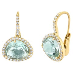 Faceted Blue Topaz and Diamond Halo Yellow Gold Lever Back Drop Earrings
