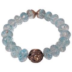 Faceted Blue Topaz and Diamond Stretch Bracelet