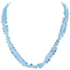 Genuine Faceted Blue Topaz Briolette Drop Necklace, 14 Karat White