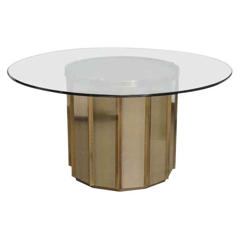 Faceted Brass Dining Table by Bernard Rohne for Mastercraft