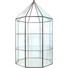 Faceted Brass and Glass Vitrine