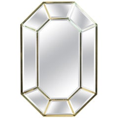Faceted Brass Octagonal Mirror by LaBarge