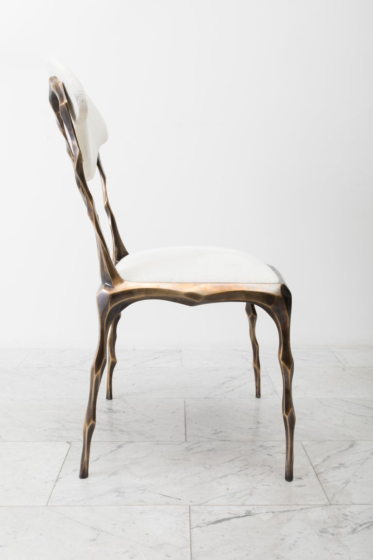 Faceted Bronze Patina Dining Chair, USA For Sale 5