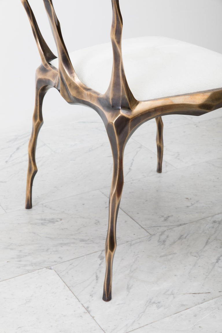 Faceted Bronze Patina Dining Chair, USA For Sale 6