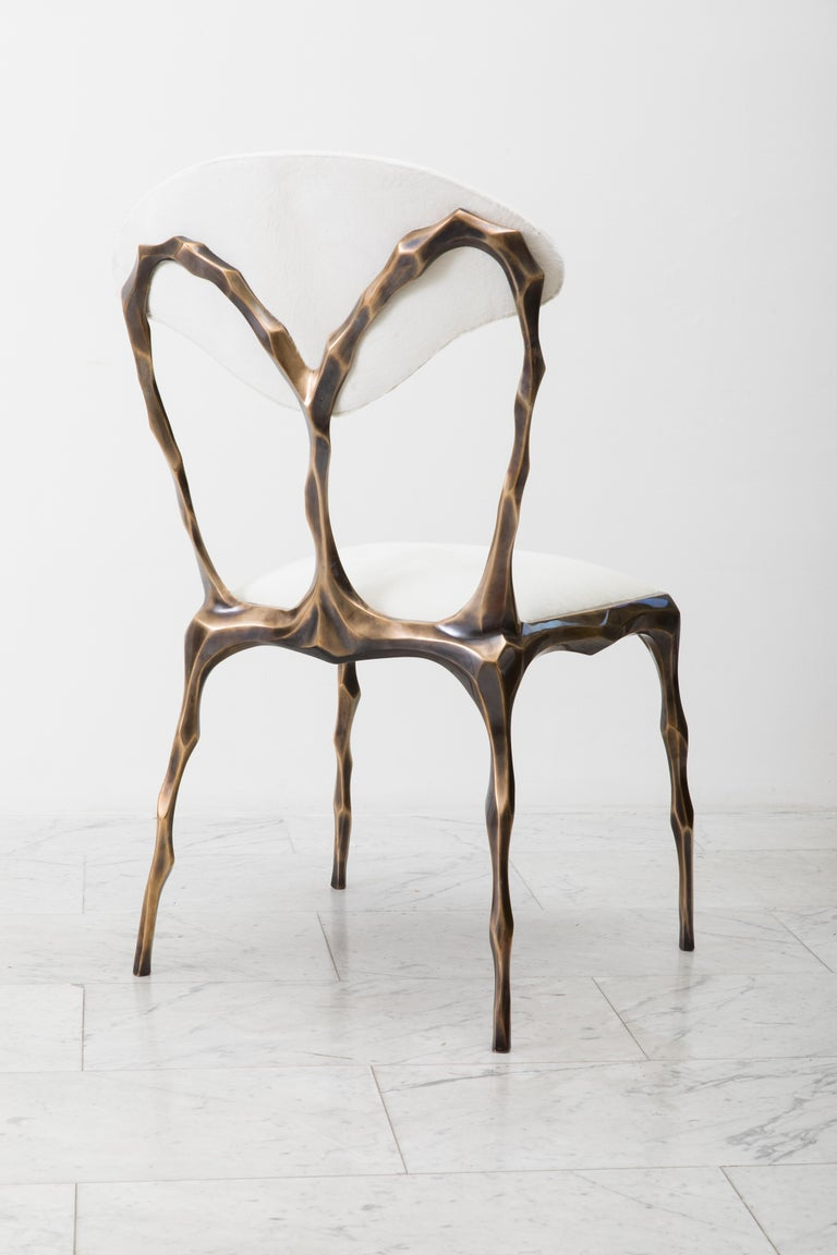 Faceted Bronze Patina Dining Chair, USA For Sale 7