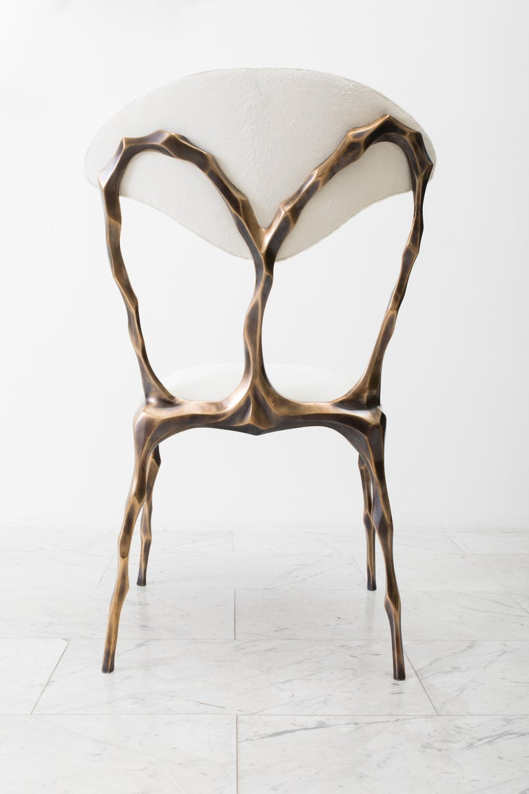 Faceted Bronze Patina Dining Chair, USA For Sale 8