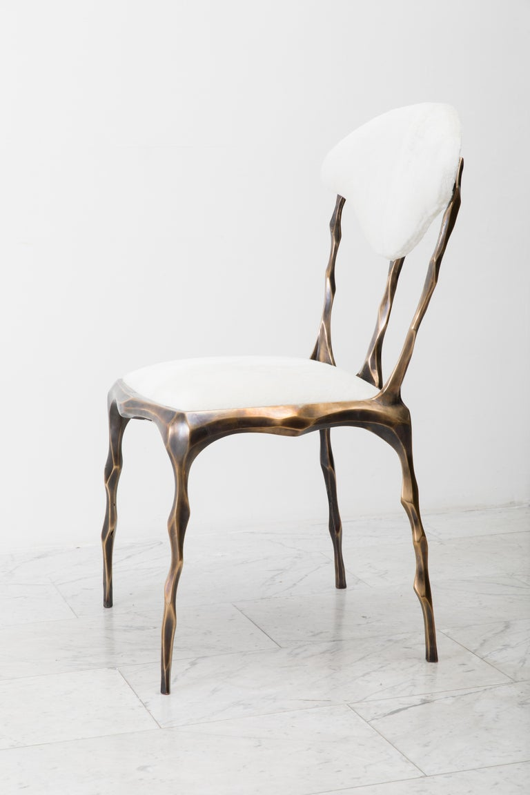 American Faceted Bronze Patina Dining Chair, USA For Sale