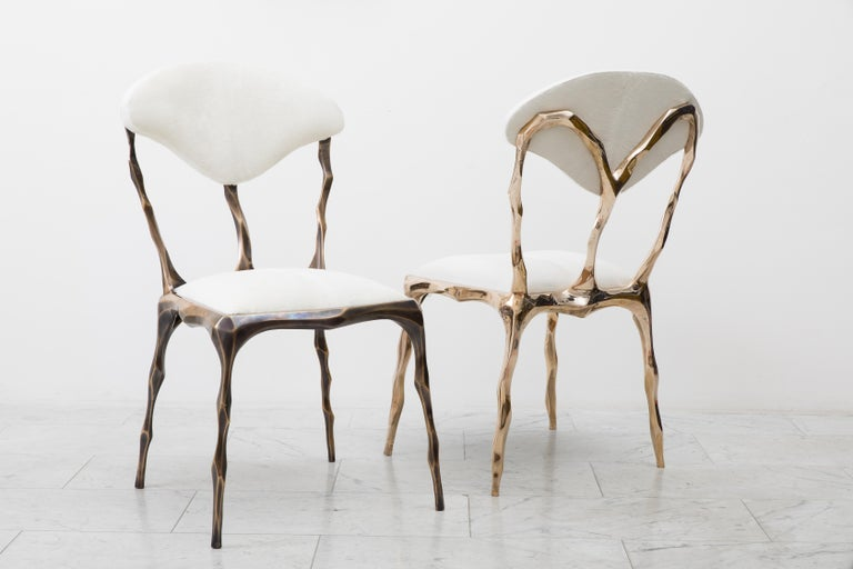 Faceted Bronze Patina Dining Chair, USA In New Condition For Sale In New York, NY