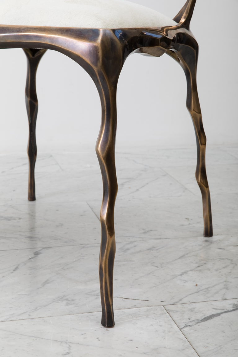 Faceted Bronze Patina Dining Chair, USA For Sale 1