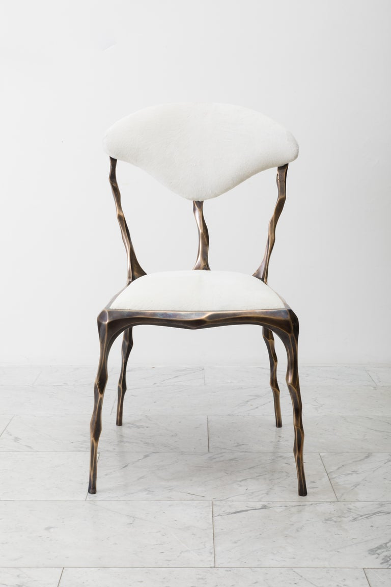 Faceted Bronze Patina Dining Chair, USA For Sale 2