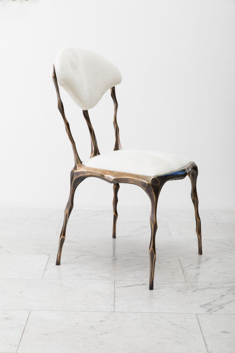 Faceted Bronze Patina Dining Chair, USA For Sale 4
