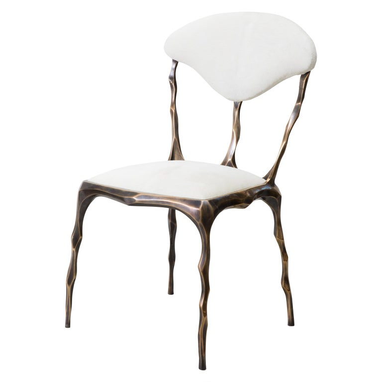 Faceted Bronze Patina Dining Chair, USA For Sale