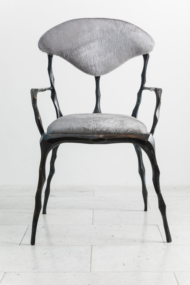 American Faceted Bronze Patina Dining Chair with Arms, USA For Sale