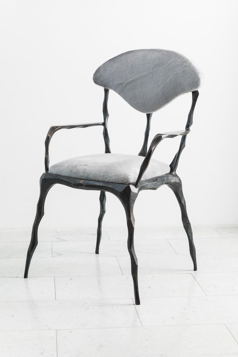 Faceted Bronze Patina Dining Chair with Arms, USA In New Condition For Sale In New York, NY