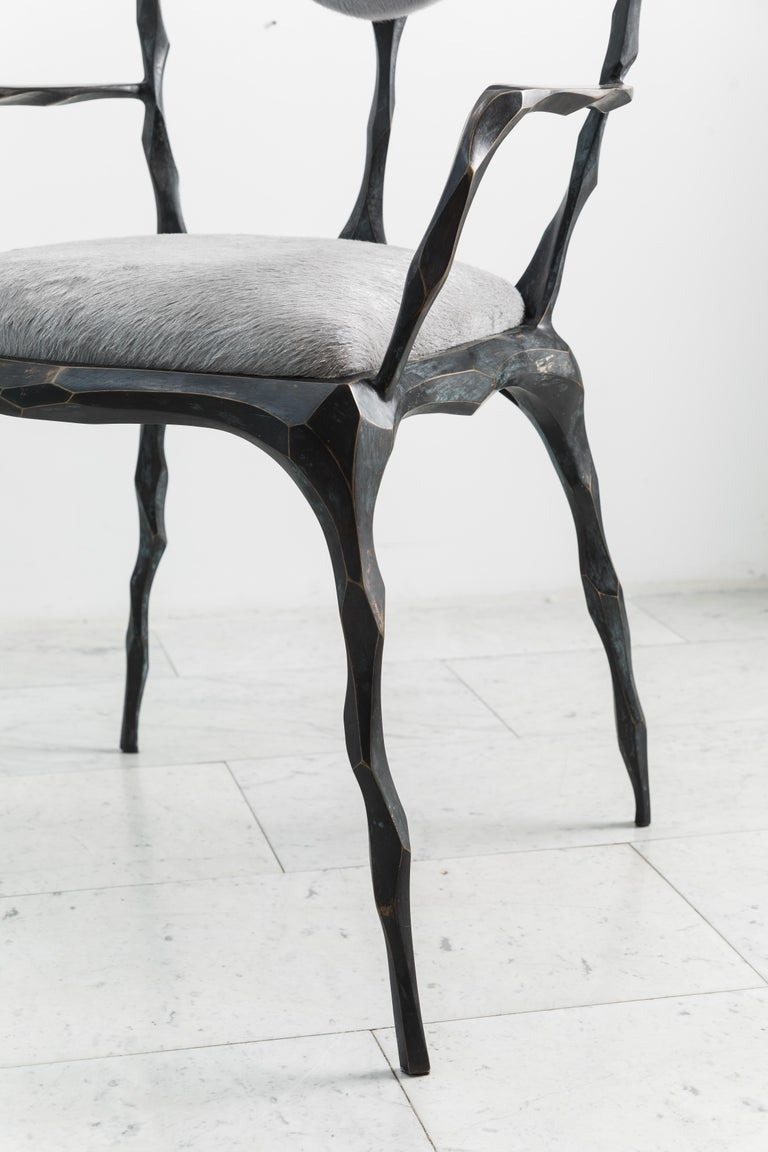 Contemporary Faceted Bronze Patina Dining Chair with Arms, USA For Sale