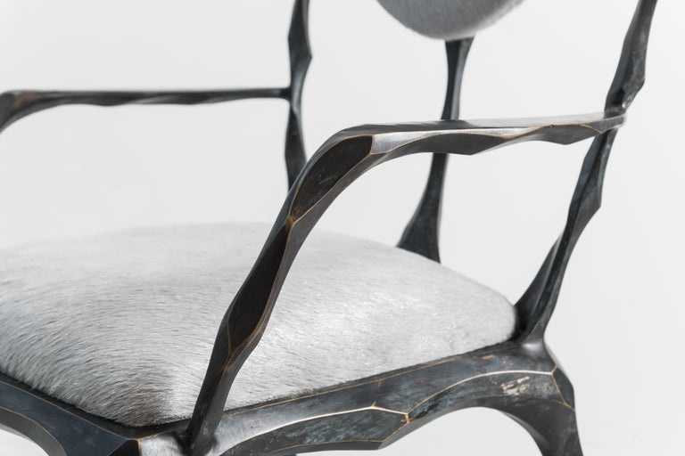 Faceted Bronze Patina Dining Chair with Arms, USA For Sale 1