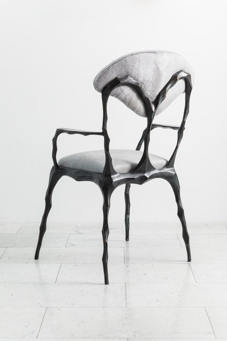 Faceted Bronze Patina Dining Chair with Arms, USA For Sale 2