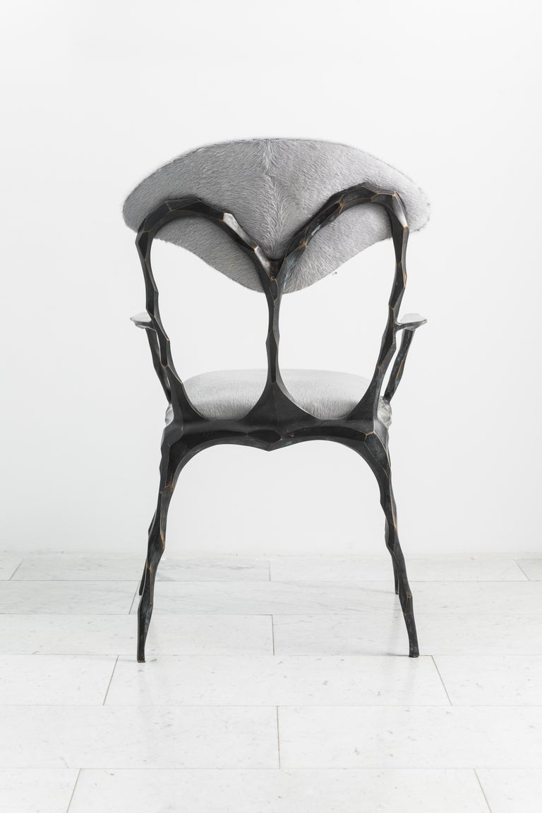 Faceted Bronze Patina Dining Chair with Arms, USA For Sale 3
