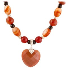 Exolette Faceted Carnelian Heart on a Carnelian Agate Silver Beaded Necklace