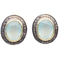 Faceted Chalcedony and Diamond Stud Earrings