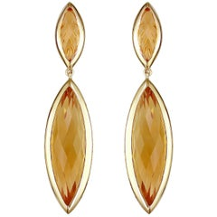 Hammerman Brothers Faceted Citrine and Diamond Drop Earrings