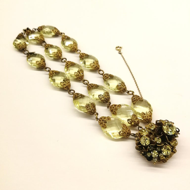 Faceted citrine glass and gilded metal parure, Miriam Haskell, 1960s For Sale 6