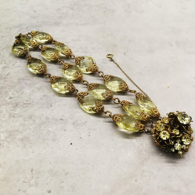 Faceted citrine glass and gilded metal parure, Miriam Haskell, 1960s For Sale 7