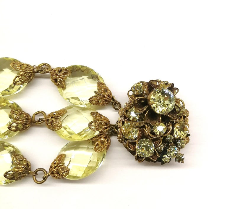 Faceted citrine glass and gilded metal parure, Miriam Haskell, 1960s For Sale 8