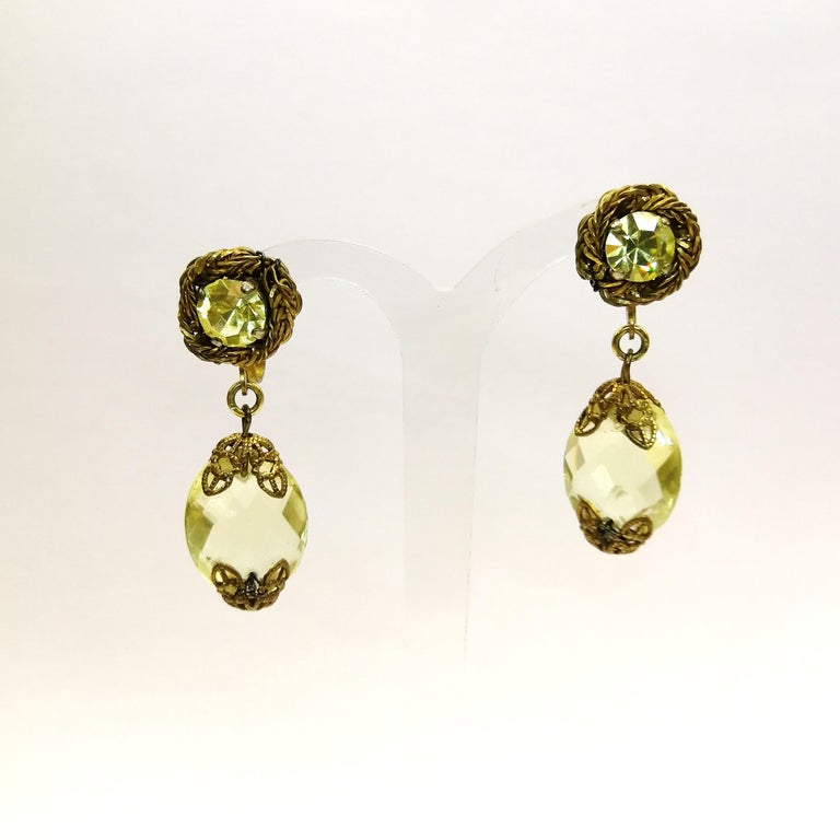 Faceted citrine glass and gilded metal parure, Miriam Haskell, 1960s For Sale 9