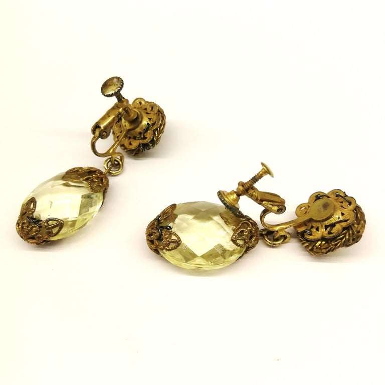 Faceted citrine glass and gilded metal parure, Miriam Haskell, 1960s For Sale 11