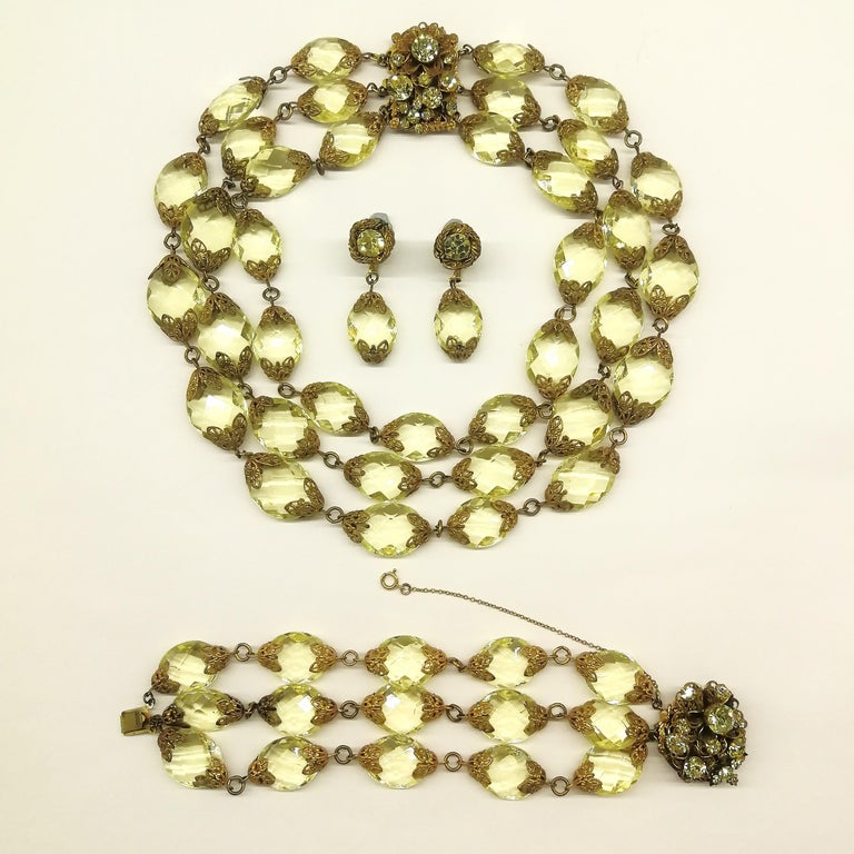 Faceted citrine glass and gilded metal parure, Miriam Haskell, 1960s In Excellent Condition For Sale In London, GB