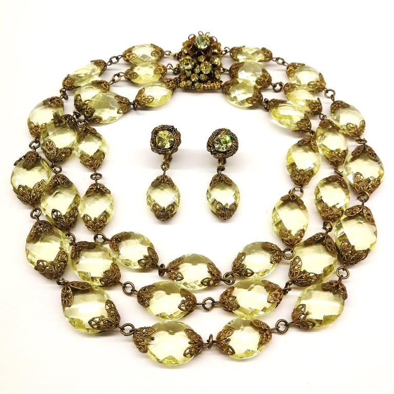 Women's Faceted citrine glass and gilded metal parure, Miriam Haskell, 1960s For Sale