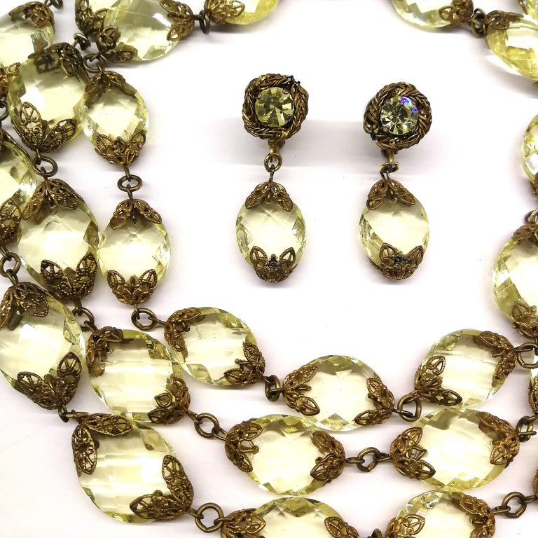 Faceted citrine glass and gilded metal parure, Miriam Haskell, 1960s For Sale 1
