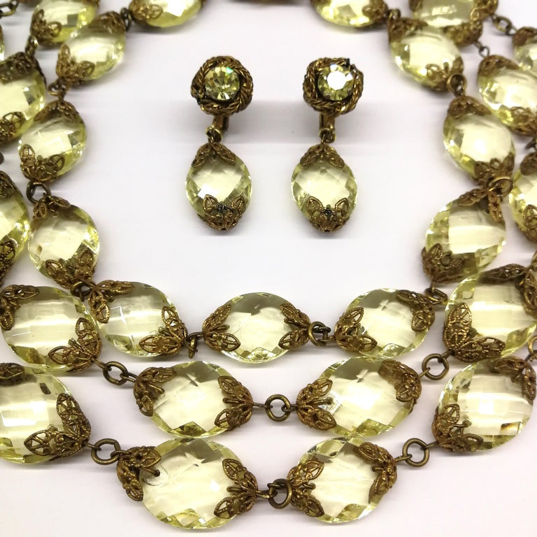 Faceted citrine glass and gilded metal parure, Miriam Haskell, 1960s For Sale 2