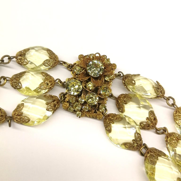 Faceted citrine glass and gilded metal parure, Miriam Haskell, 1960s For Sale 3