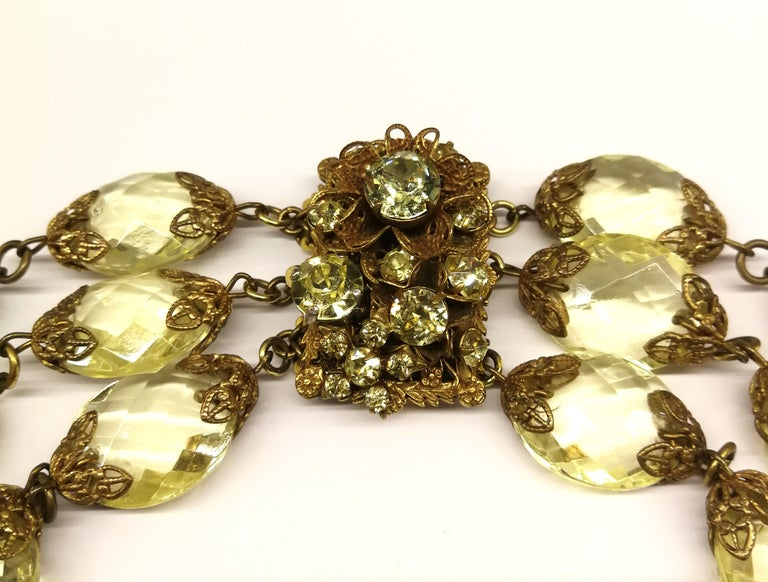 Faceted citrine glass and gilded metal parure, Miriam Haskell, 1960s For Sale 4
