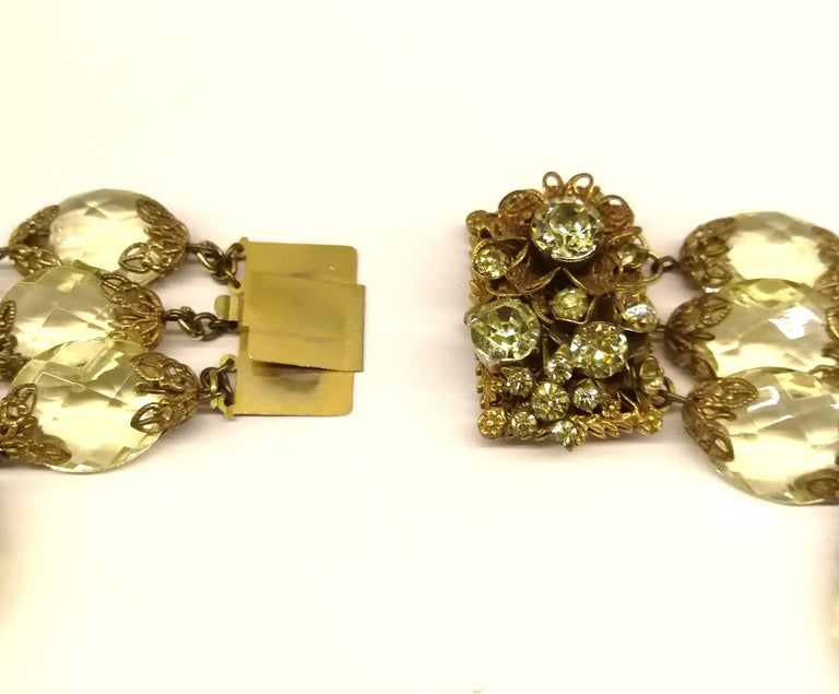 Faceted citrine glass and gilded metal parure, Miriam Haskell, 1960s For Sale 5