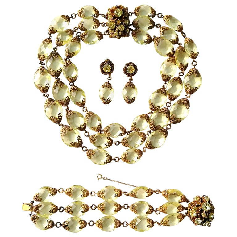 Faceted citrine glass and gilded metal parure, Miriam Haskell, 1960s For Sale