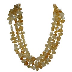 Faceted Citrine Nuggets 925 Vermeil Multi Strand Graduated Gemstone Necklace