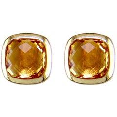 Hammerman Brothers Faceted Citrine Stud Earrings