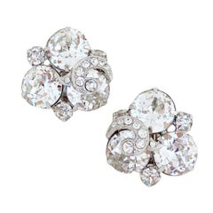 """Faceted Crystal """"Ice"""" Cocktail Earrings By Eisenberg, 1950s"""