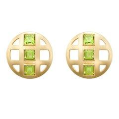 Square Cut Faceted Peridot Lattice Earrings set in 18 Karat Gold