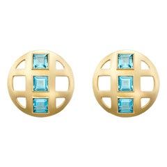 Faceted Cut Square Topaz and 18 Karat Gold Lattice Earrings, London Blue