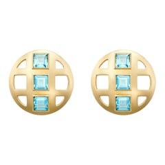 Faceted Cut Square Topaz and 18 Karat Gold Lattice Earrings, Sky Blue