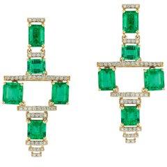 Faceted E-Cut Emerald Cyborg And Diamond Earrings