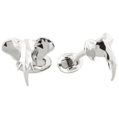 Faceted Elephant Head Cufflinks in Sterling Silver by Fils Unique