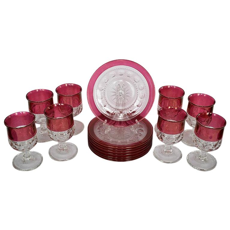 Faceted Flashed Cranberry Kings Crown Etched Tableware Set of 16 by Tiffin For Sale