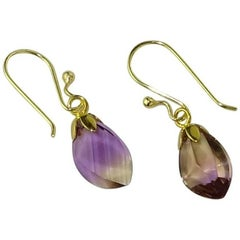 Faceted Free-Form Brazilian Ametrine Earrings on French Hooks