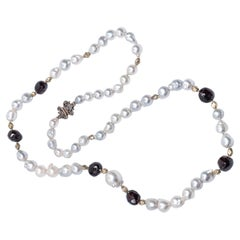 Faceted Garnet Intan Diamonds Baroque South Sea Pearl Vintage Chain Necklace